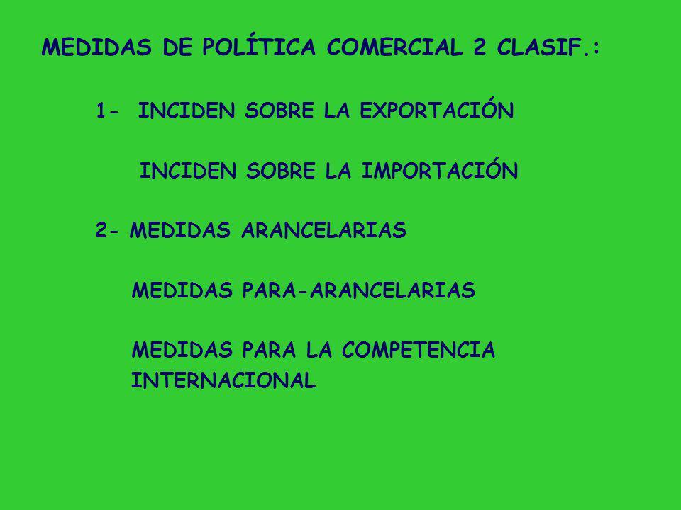 MEDIDAS DE POLÍTICA COMERCIAL 2 CLASIF.: