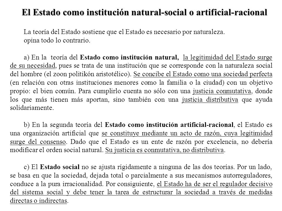 El Estado como institución natural-social o artificial-racional