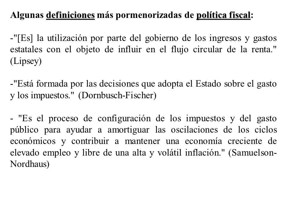 Algunas definiciones más pormenorizadas de política fiscal: