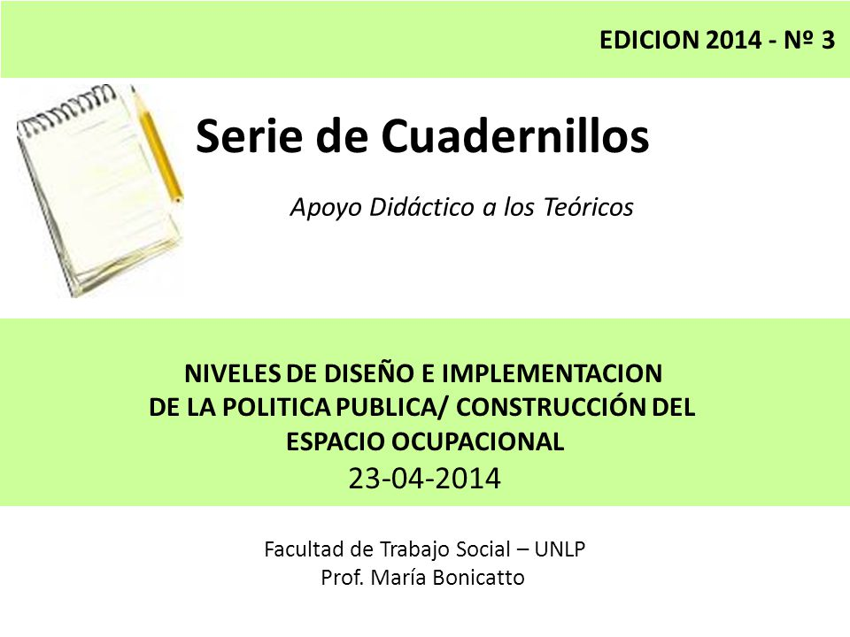 Serie de Cuadernillos 23-04-2014 EDICION 2014 - Nº 3