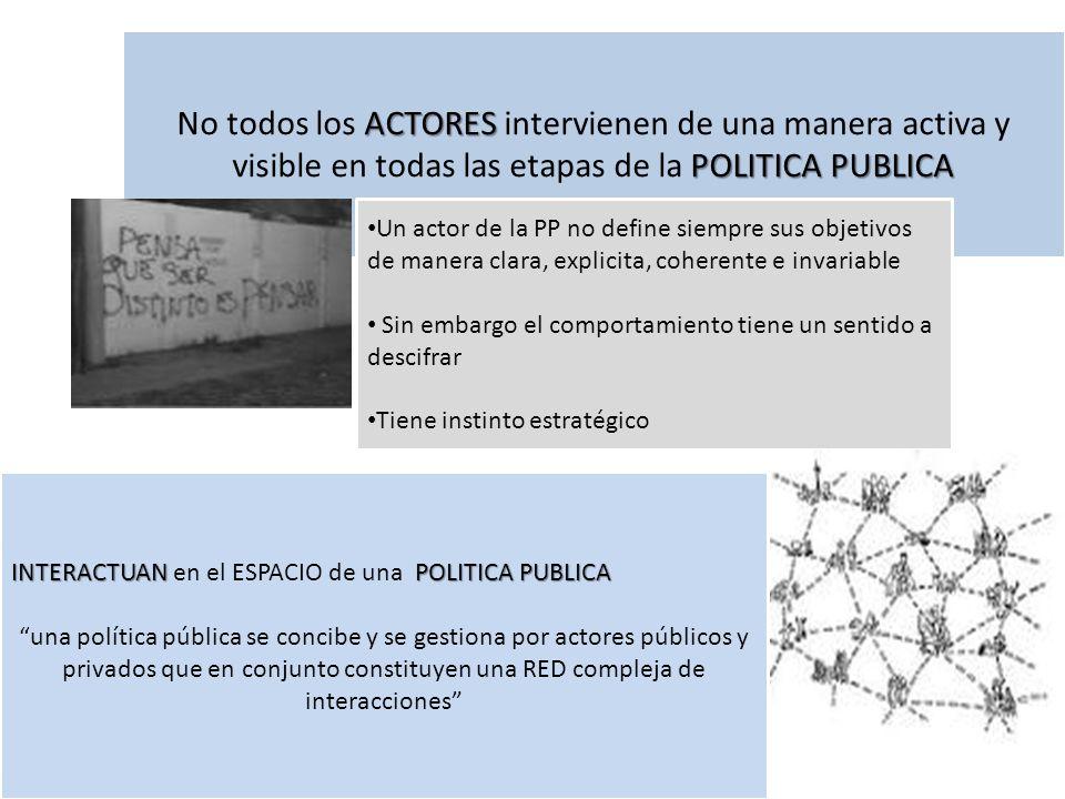No todos los ACTORES intervienen de una manera activa y visible en todas las etapas de la POLITICA PUBLICA