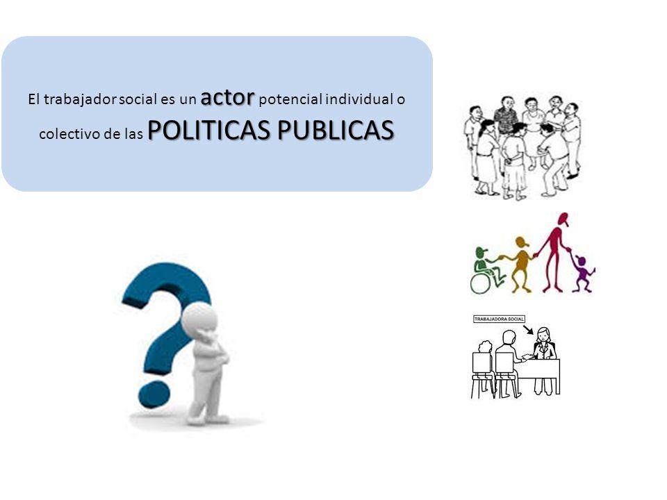 El trabajador social es un actor potencial individual o colectivo de las POLITICAS PUBLICAS