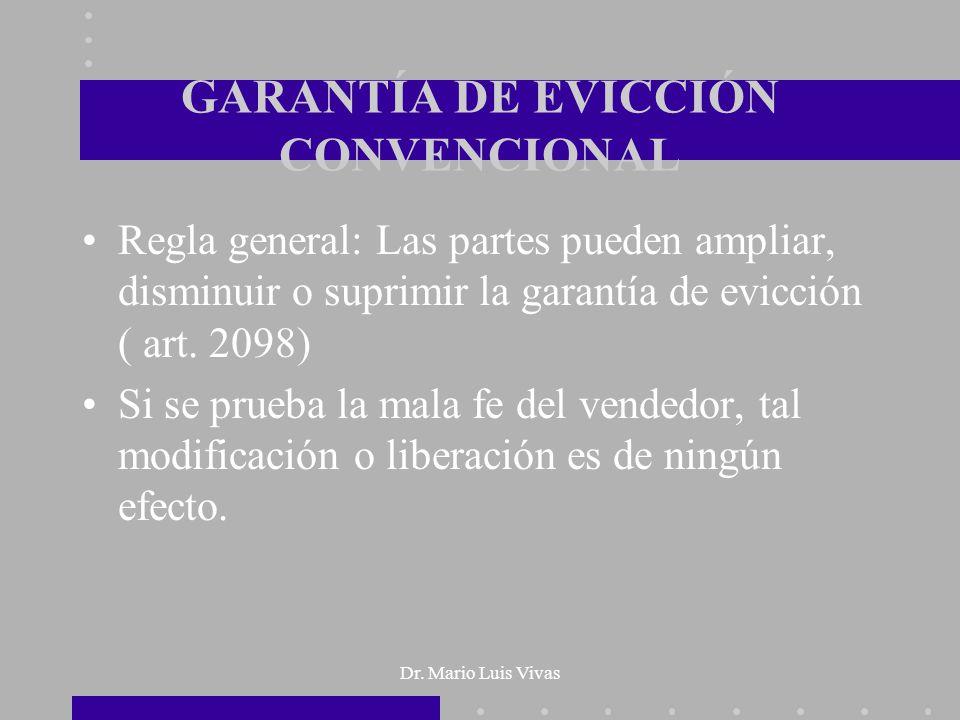 GARANTÍA DE EVICCIÓN CONVENCIONAL