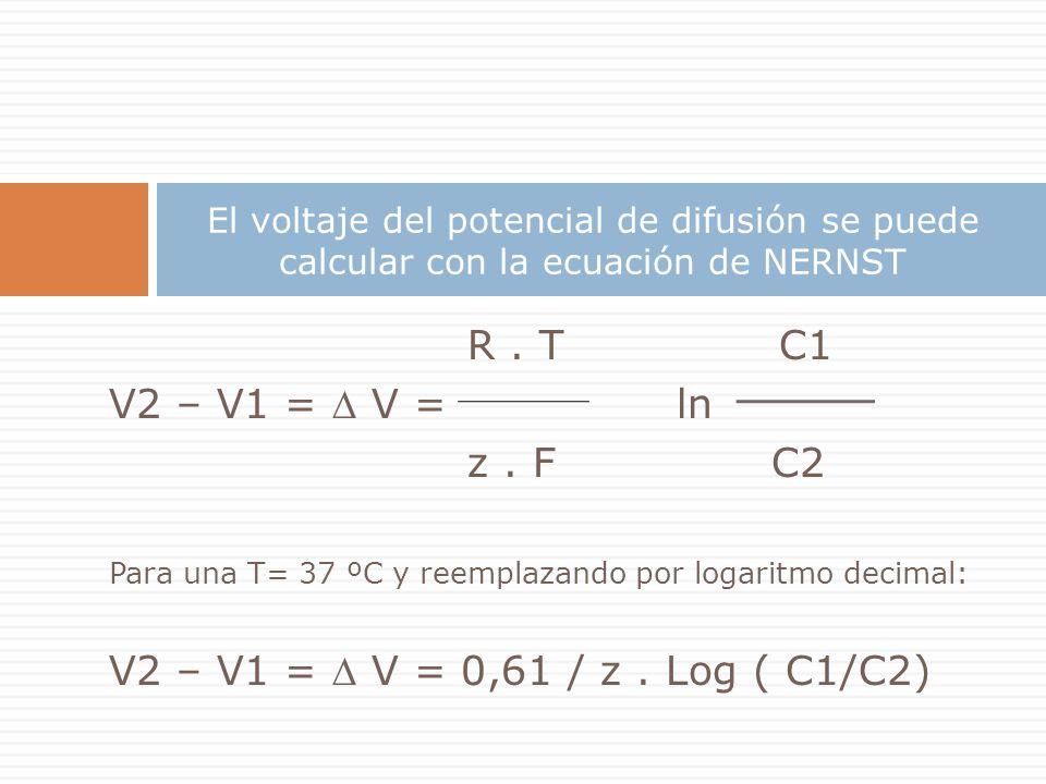 El voltaje del potencial de difusión se puede calcular con la ecuación de NERNST