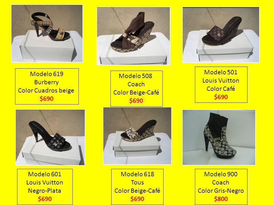 Modelo 619 Burberry. Color Cuadros beige. $690. Modelo 501. Louis Vuitton. Color Café. $690. Modelo 508.