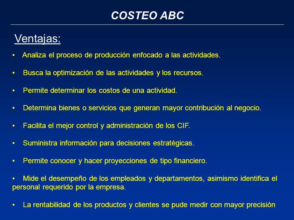 COSTEO ABC Ventajas: Analiza el proceso de producción enfocado a las actividades. Busca la optimización de las actividades y los recursos.