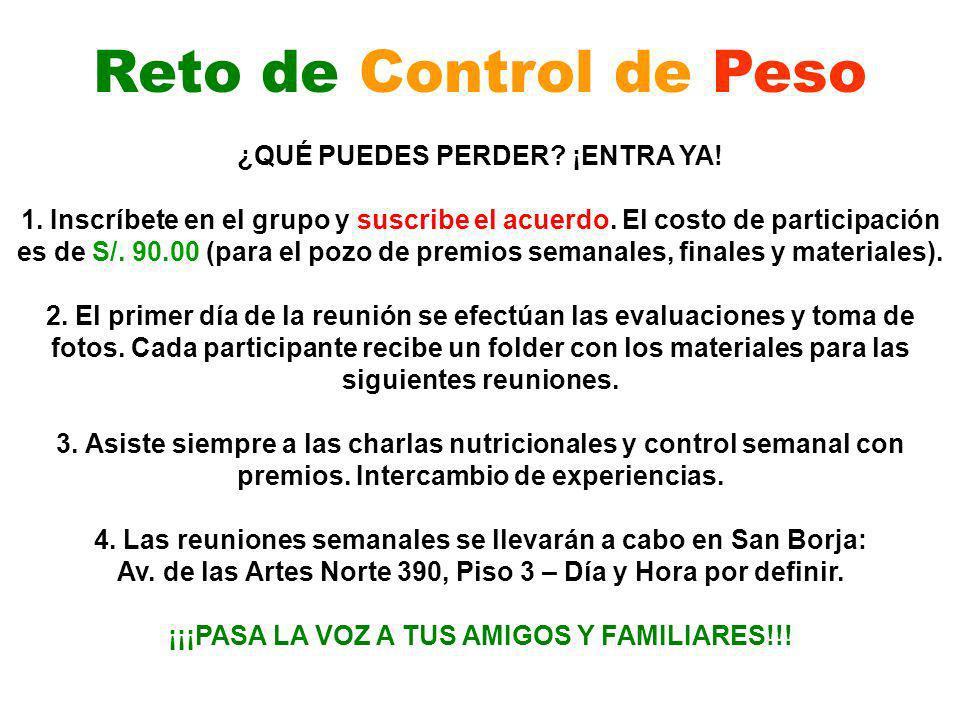 Reto de Control de Peso ¿QUÉ PUEDES PERDER ¡ENTRA YA!