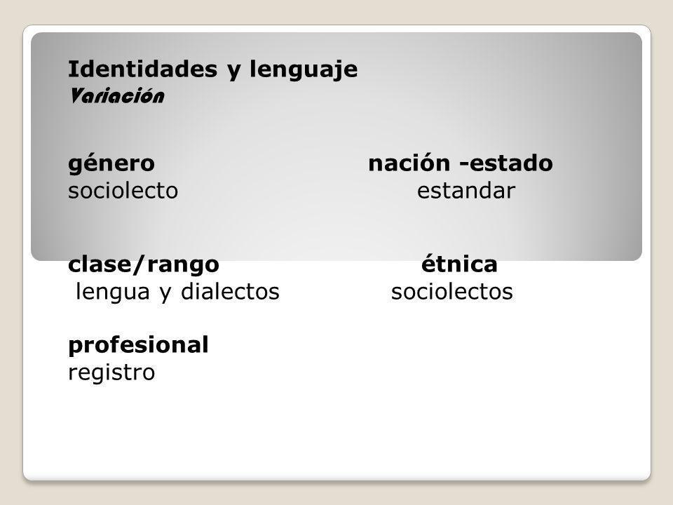 Identidades y lenguaje