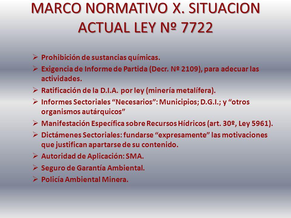 MARCO NORMATIVO X. SITUACION ACTUAL LEY Nº 7722