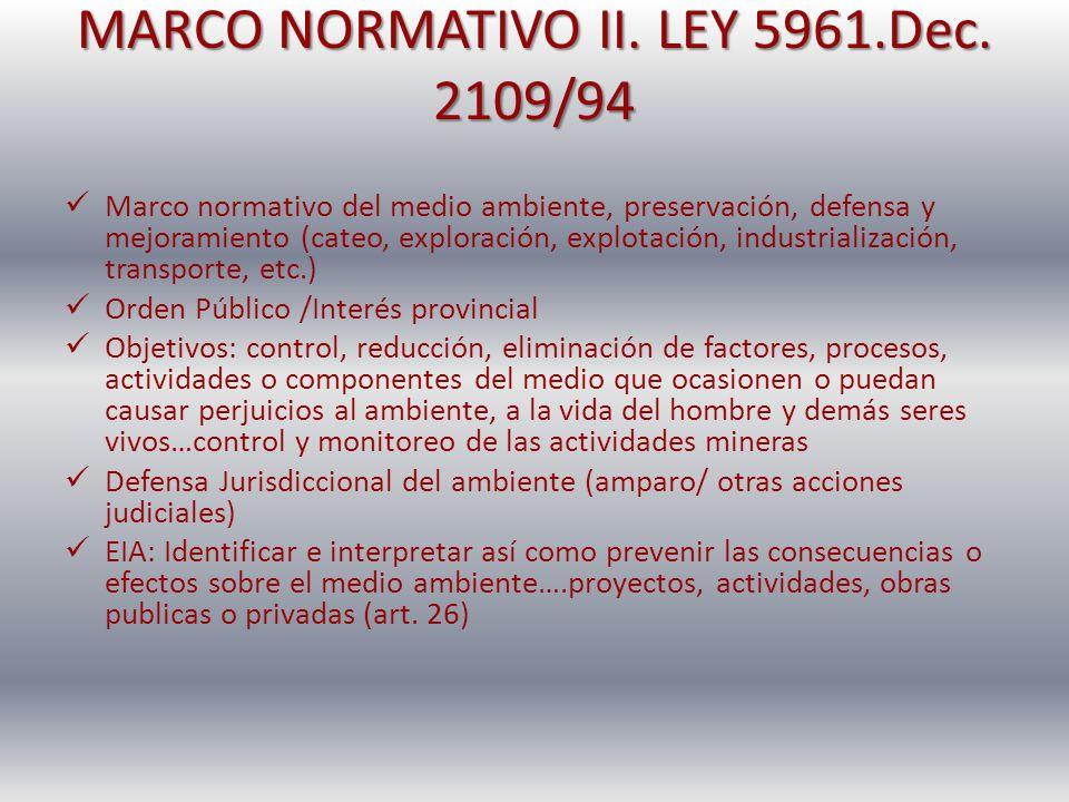 MARCO NORMATIVO II. LEY 5961.Dec. 2109/94