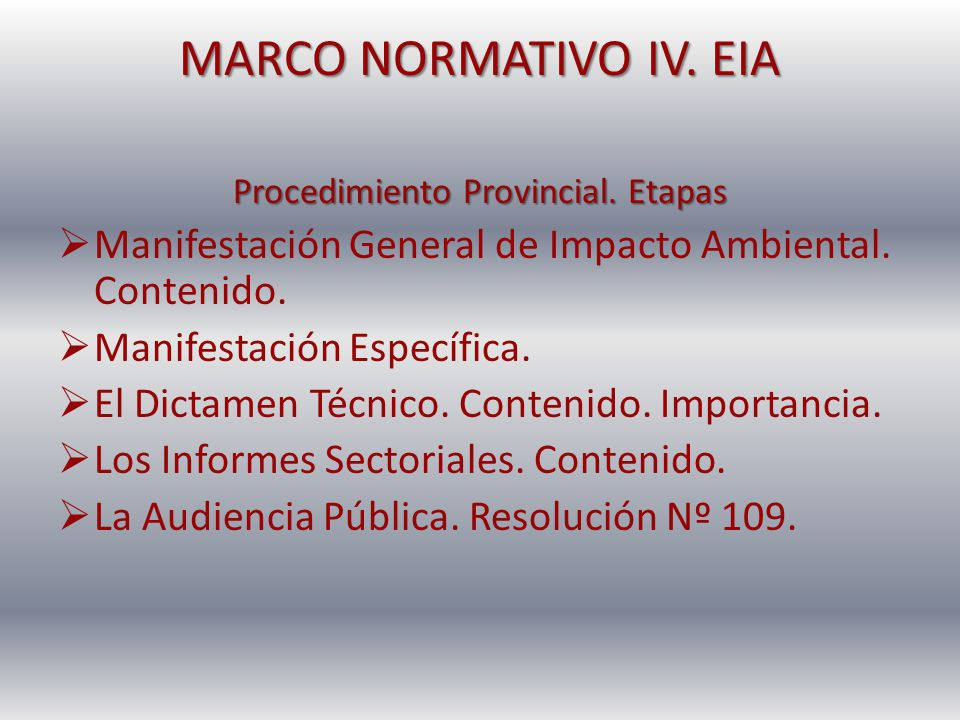 Procedimiento Provincial. Etapas