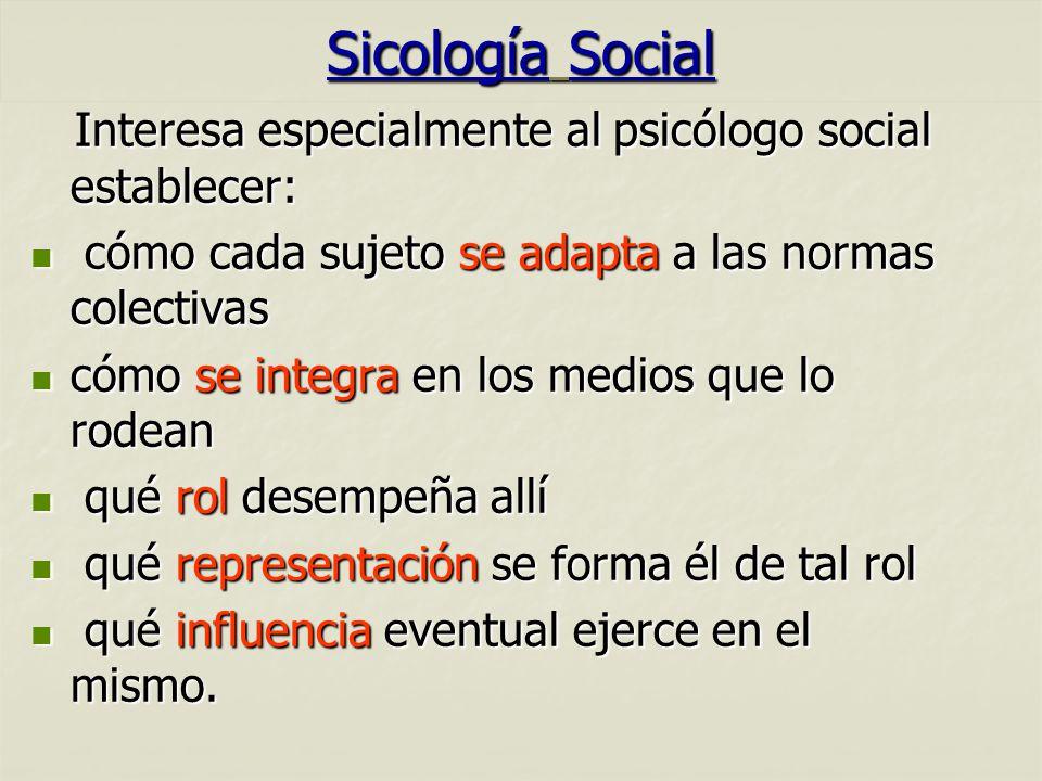 Sicología Social 01/04/2017. Interesa especialmente al psicólogo social establecer: cómo cada sujeto se adapta a las normas colectivas.