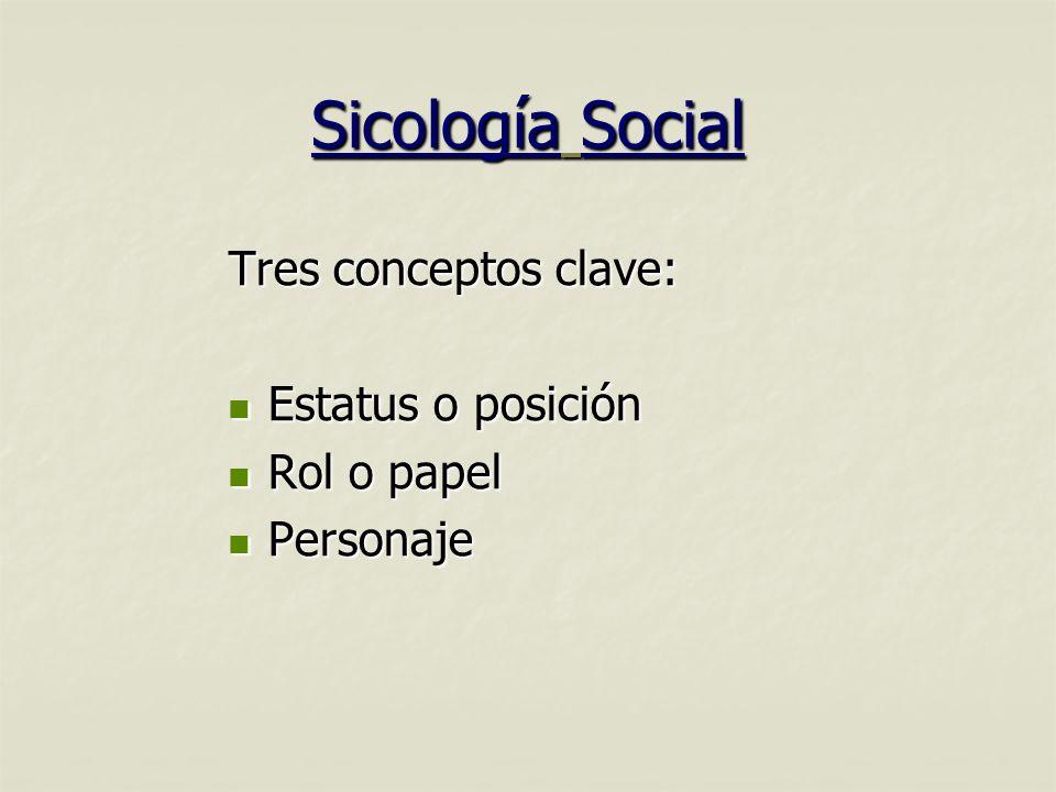 Sicología Social Tres conceptos clave: Estatus o posición Rol o papel