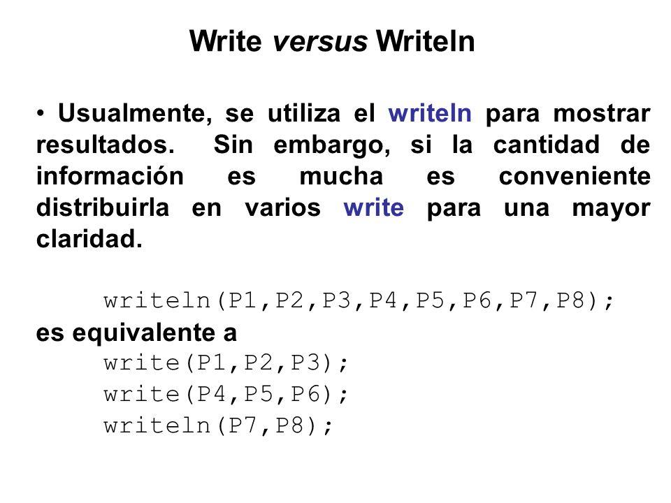 Write versus Writeln