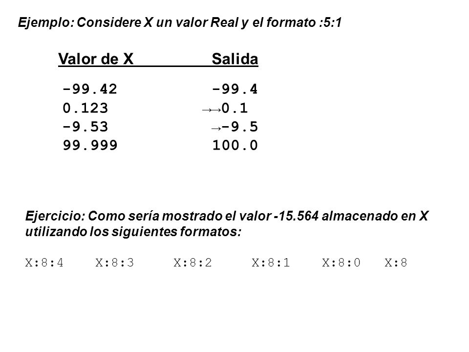 Valor de X Salida -99.42 -99.4 0.123 →→0.1 -9.53 →-9.5 99.999 100.0