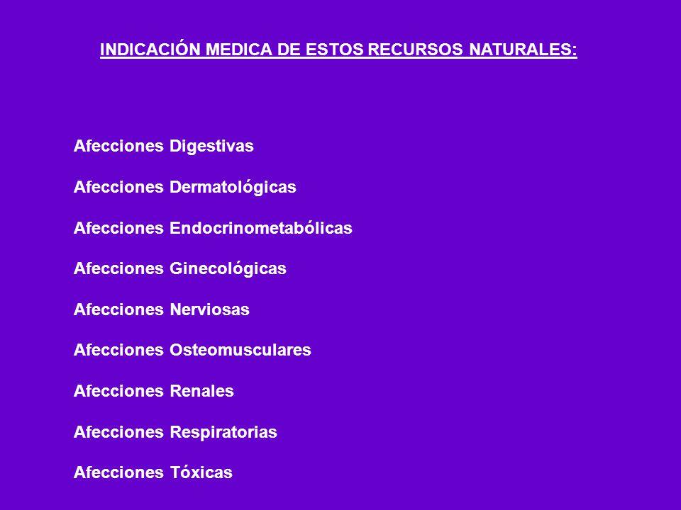 INDICACIÓN MEDICA DE ESTOS RECURSOS NATURALES: