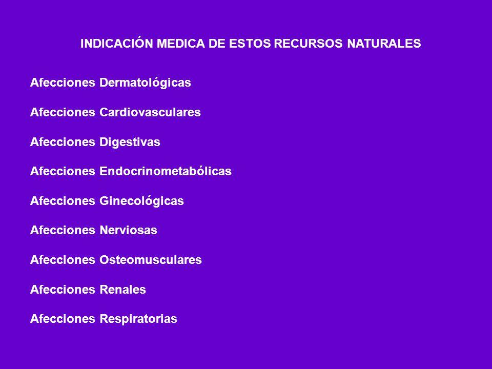 INDICACIÓN MEDICA DE ESTOS RECURSOS NATURALES