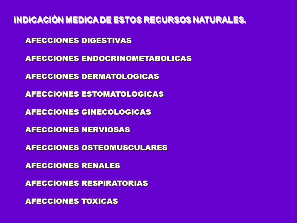 INDICACIÓN MEDICA DE ESTOS RECURSOS NATURALES.