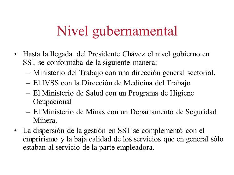 Nivel gubernamental Hasta la llegada del Presidente Chávez el nivel gobierno en SST se conformaba de la siguiente manera: