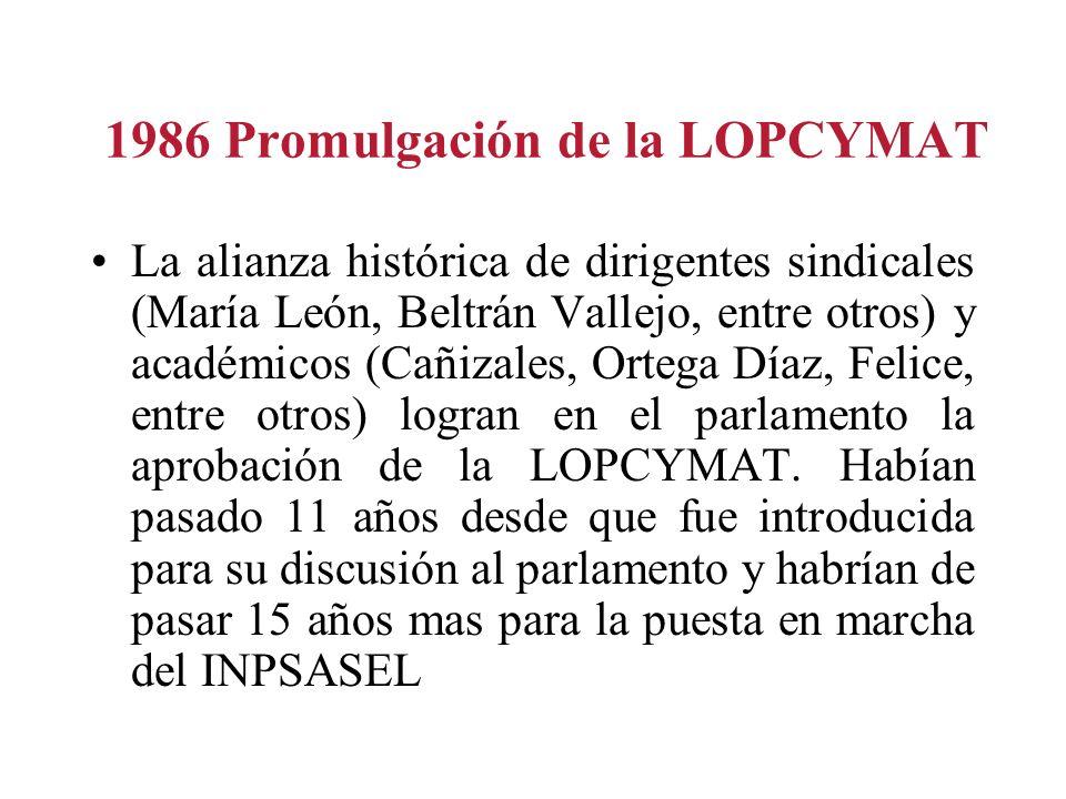 1986 Promulgación de la LOPCYMAT