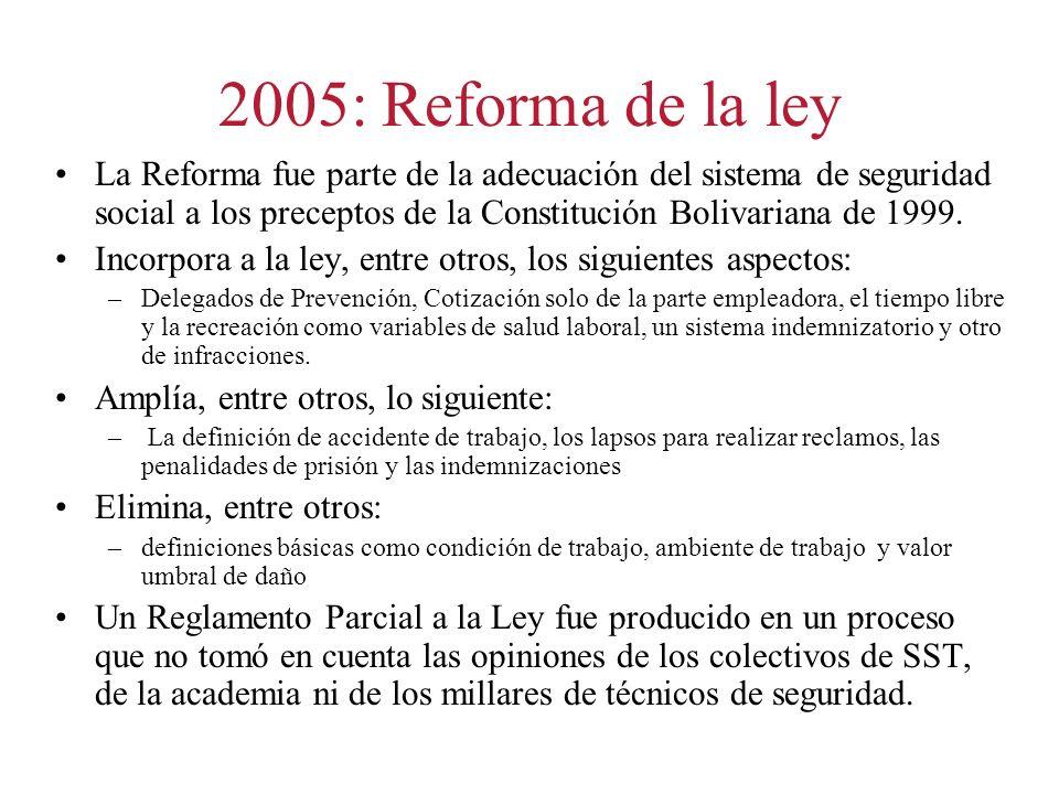2005: Reforma de la ley La Reforma fue parte de la adecuación del sistema de seguridad social a los preceptos de la Constitución Bolivariana de 1999.