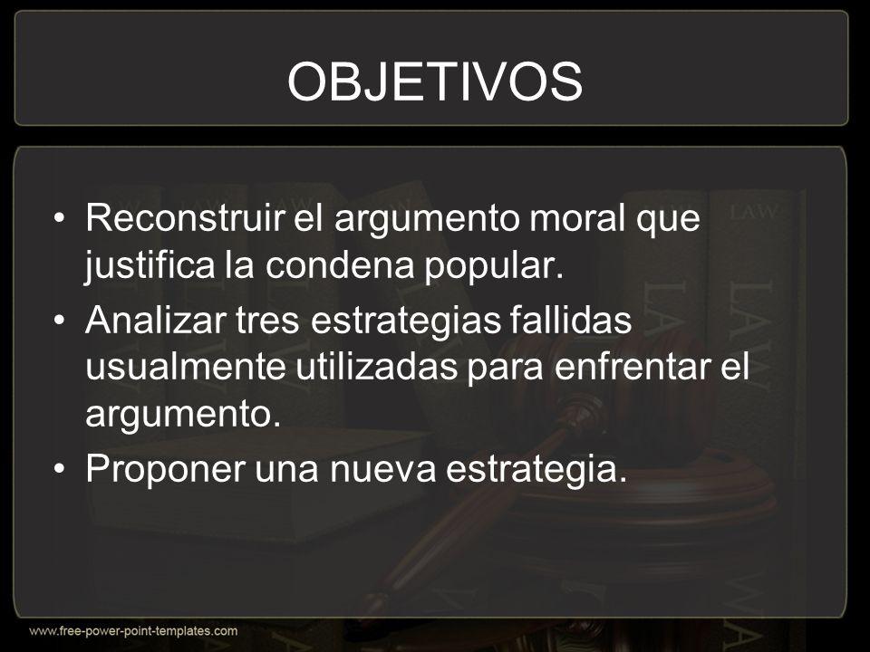 OBJETIVOS Reconstruir el argumento moral que justifica la condena popular.