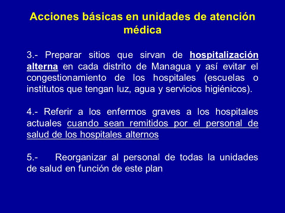 Acciones básicas en unidades de atención médica