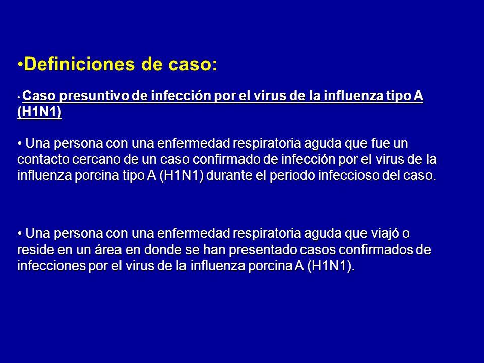 Definiciones de caso:Caso presuntivo de infección por el virus de la influenza tipo A (H1N1)