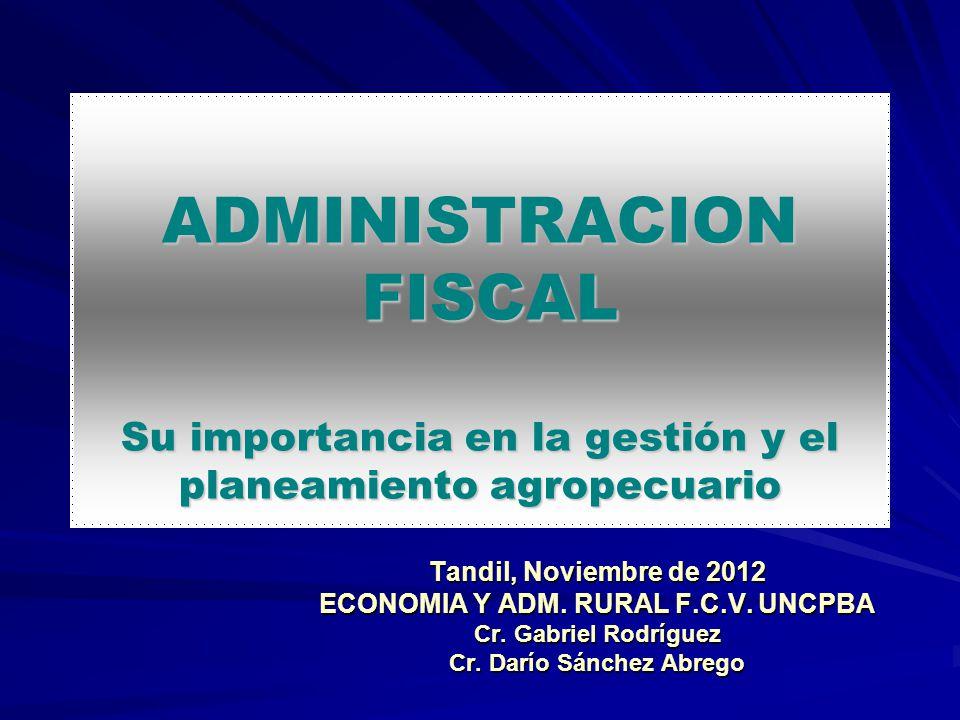 ECONOMIA Y ADM. RURAL F.C.V. UNCPBA Cr. Darío Sánchez Abrego