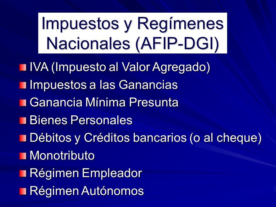 Impuestos y Regímenes Nacionales (AFIP-DGI)