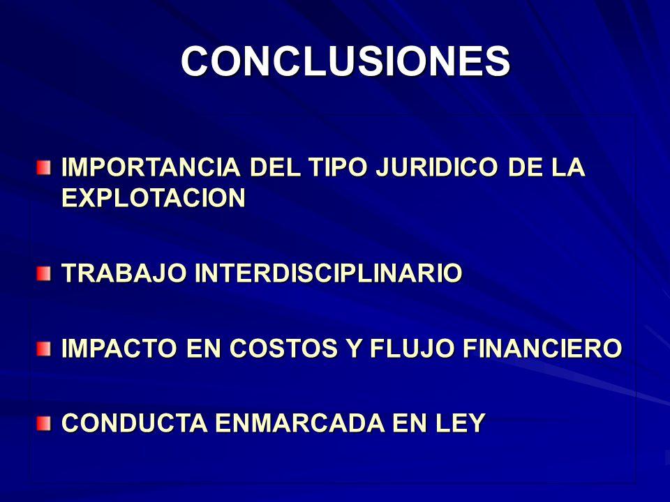 CONCLUSIONES IMPORTANCIA DEL TIPO JURIDICO DE LA EXPLOTACION