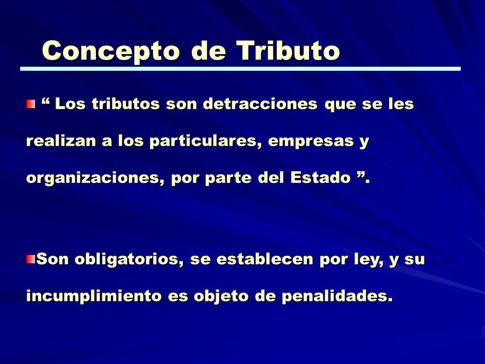 Concepto de Tributo Los tributos son detracciones que se les realizan a los particulares, empresas y organizaciones, por parte del Estado .