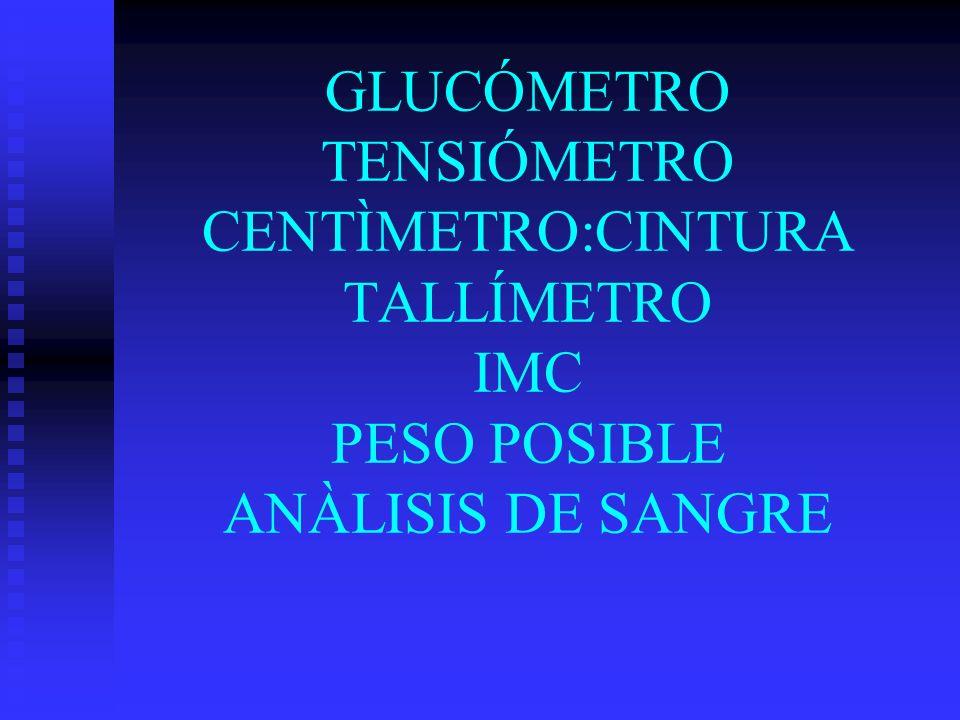 GLUCÓMETRO TENSIÓMETRO CENTÌMETRO:CINTURA TALLÍMETRO IMC PESO POSIBLE ANÀLISIS DE SANGRE