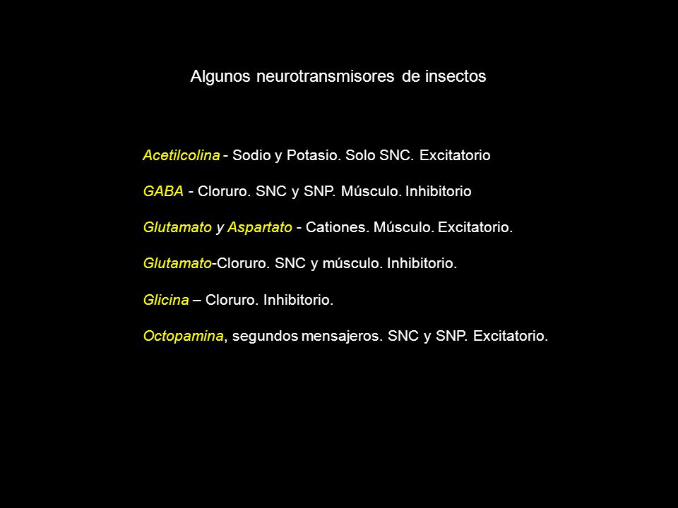 Algunos neurotransmisores de insectos