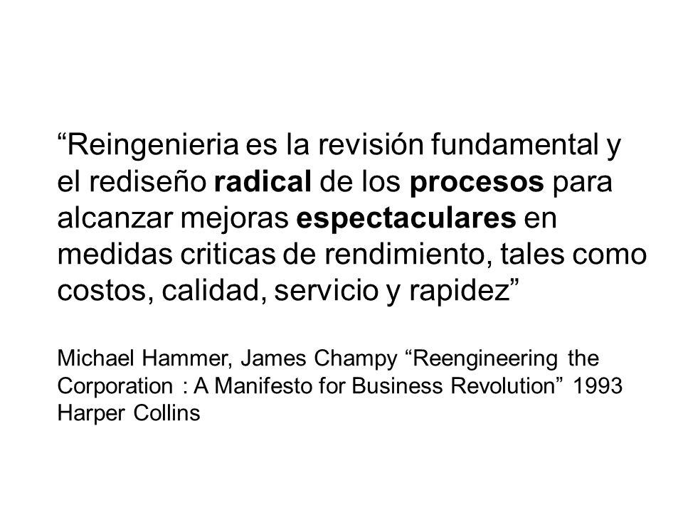 Reingenieria es la revisión fundamental y el rediseño radical de los procesos para alcanzar mejoras espectaculares en medidas criticas de rendimiento, tales como costos, calidad, servicio y rapidez