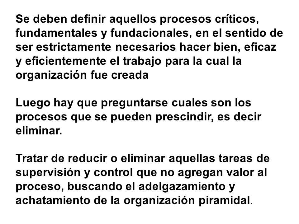 Se deben definir aquellos procesos críticos, fundamentales y fundacionales, en el sentido de ser estrictamente necesarios hacer bien, eficaz y eficientemente el trabajo para la cual la organización fue creada