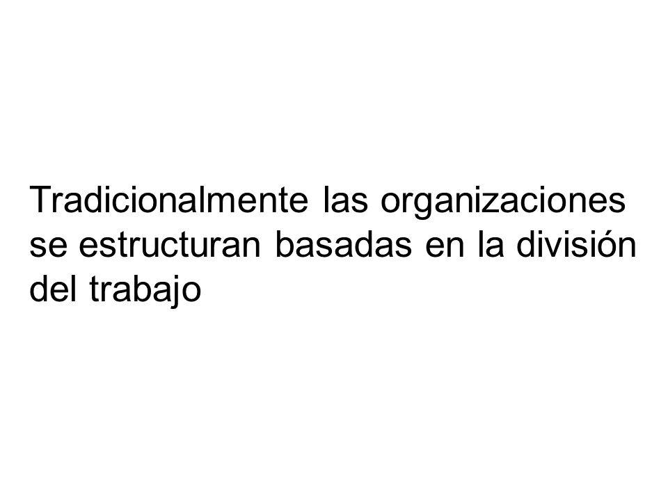 Tradicionalmente las organizaciones se estructuran basadas en la división del trabajo