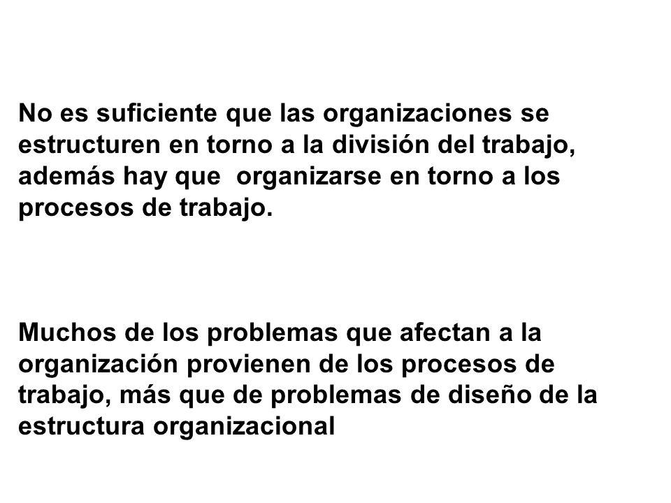 No es suficiente que las organizaciones se estructuren en torno a la división del trabajo,