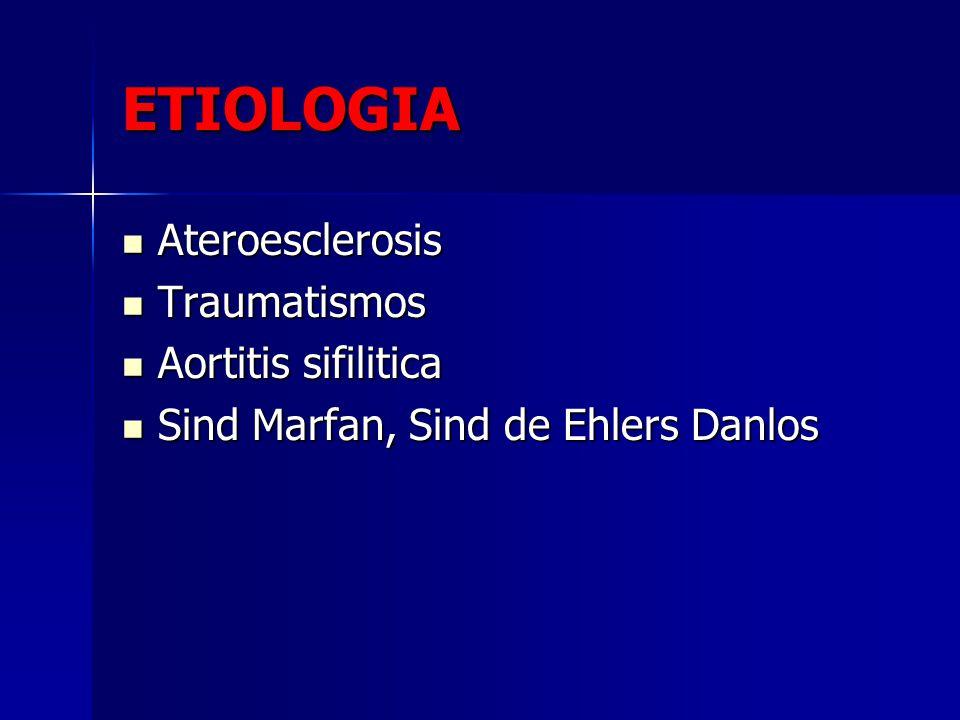 ETIOLOGIA Ateroesclerosis Traumatismos Aortitis sifilitica