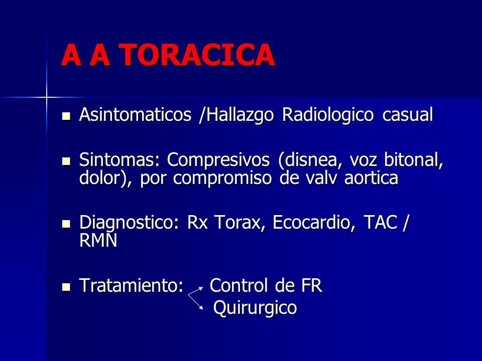 A A TORACICA Asintomaticos /Hallazgo Radiologico casual