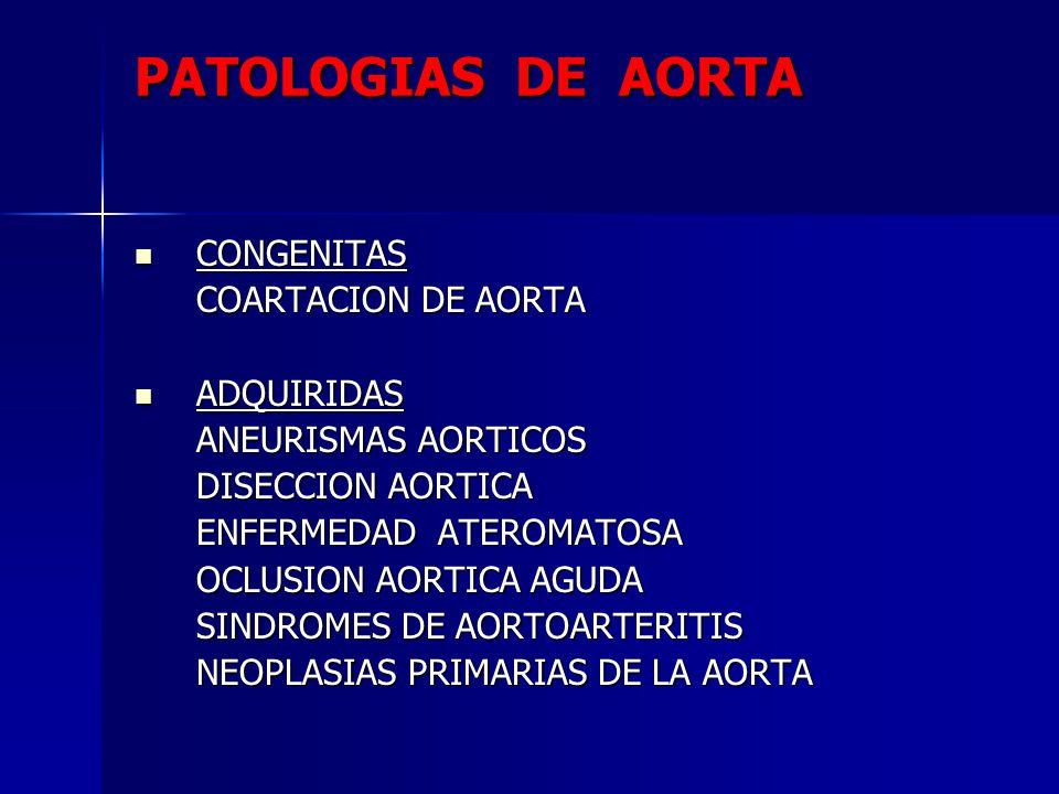 PATOLOGIAS DE AORTA CONGENITAS COARTACION DE AORTA ADQUIRIDAS
