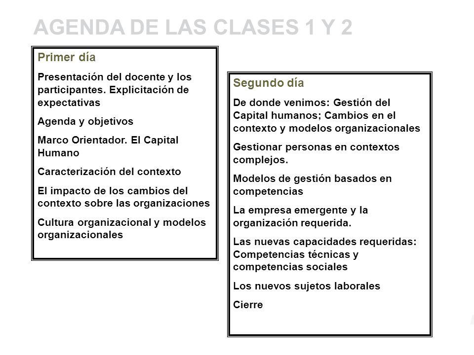 AGENDA DE LAS CLASES 1 Y 2 Primer día Segundo día