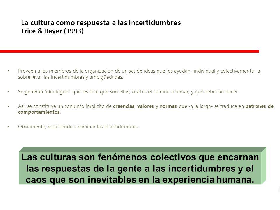 La cultura como respuesta a las incertidumbres Trice & Beyer (1993)