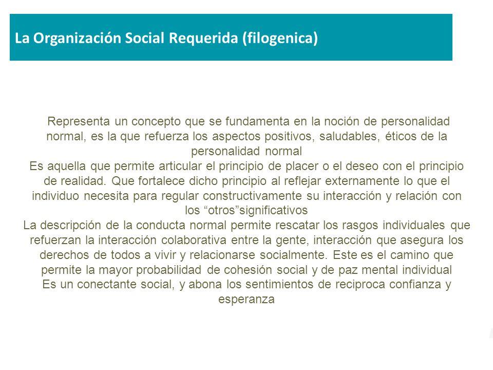 La Organización Social Requerida (filogenica)