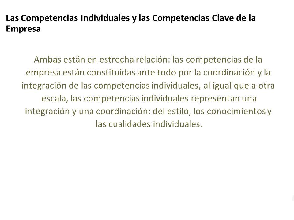 Las Competencias Individuales y las Competencias Clave de la Empresa