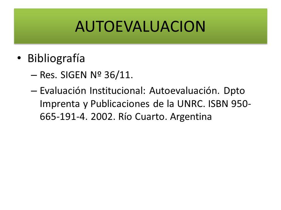 AUTOEVALUACION Bibliografía Res. SIGEN Nº 36/11.