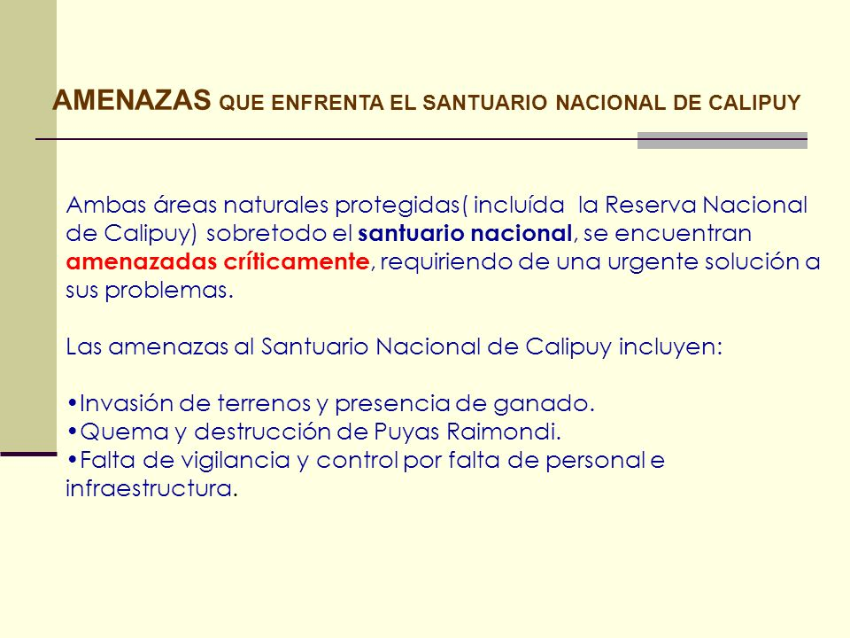 AMENAZAS QUE ENFRENTA EL SANTUARIO NACIONAL DE CALIPUY