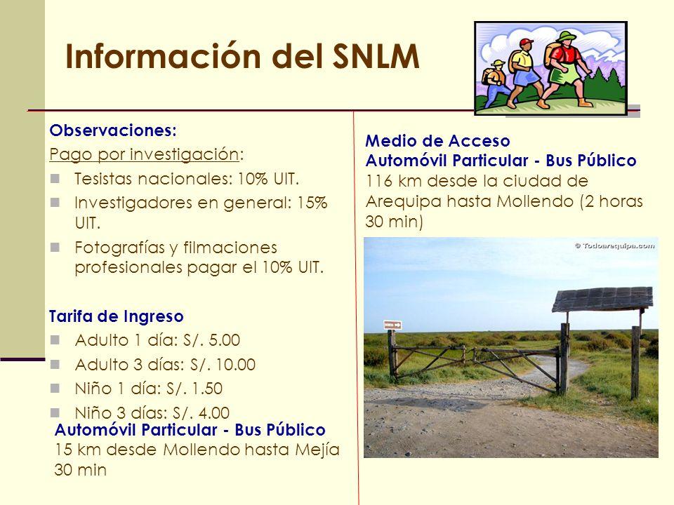 Información del SNLM Observaciones: Pago por investigación: