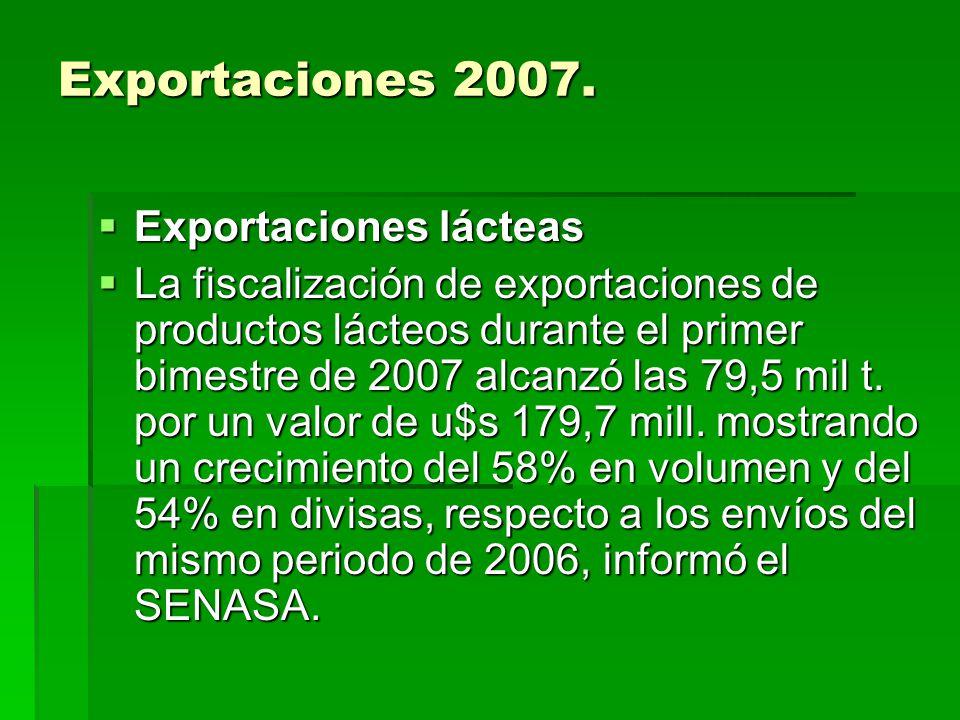 Exportaciones 2007. Exportaciones lácteas