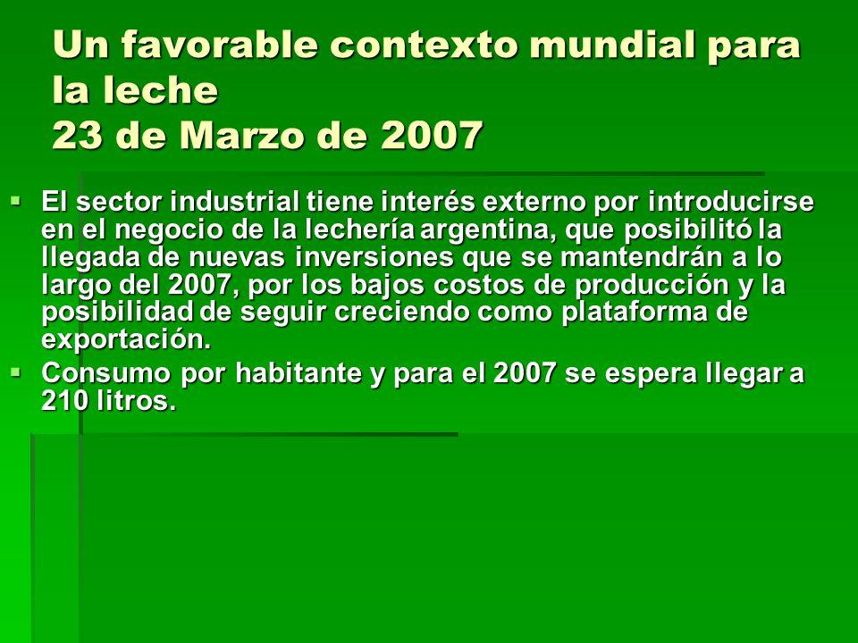 Un favorable contexto mundial para la leche 23 de Marzo de 2007
